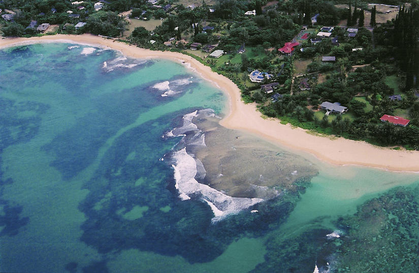 Tunnels Beach from the air